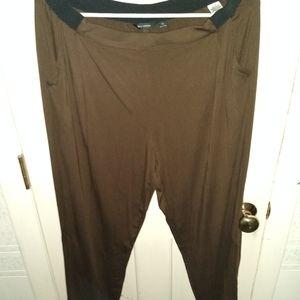 H by Halston Dark Brown w Green M Pull On Pants